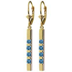 Genuine 0.70 ctw Blue Topaz Earrings Jewelry 14KT Yellow Gold - REF-55T2A