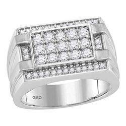 1.02 CTW Mens Diamond Square Cluster Ring 14KT White Gold - REF-127Y4X