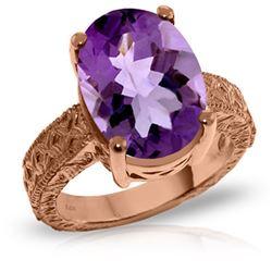 Genuine 7.5 ctw Amethyst Ring Jewelry 14KT Rose Gold - REF-125H9X