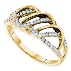 0.25 CTW Diamond Openwork Ring 14KT Yellow Gold - REF-41X9Y