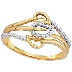 0.10 CTW Diamond Triple Row Leaf Ring 10KT Yellow Gold - REF-16H4M