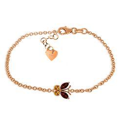 Genuine 0.60 ctw Garnet & Citrine Bracelet Jewelry 14KT Rose Gold - REF-41K6V
