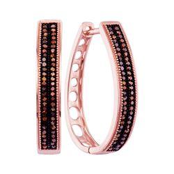 0.34 CTW Diamond Double Row Oblong Hoop Earrings 10KT Rose Gold - REF-46Y4X