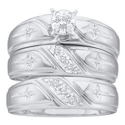 0.15 CTW His & Hers Diamond Solitaire Cross Matching Bridal Ring 14KT White Gold - REF-55W5K