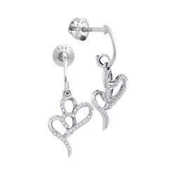 0.15 CTW Diamond Double Heart Dangle Earrings 10KT White Gold - REF-18M2H
