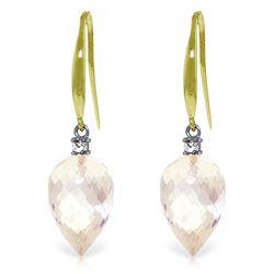 Genuine 24.6 ctw White Topaz & Diamond Earrings Jewelry 14KT Yellow Gold - REF-53F2Z
