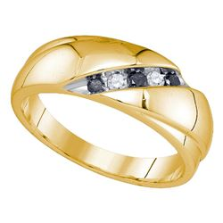 0.20 CTW Mens Black Color Diamond Wedding Ring 10KT Yellow Gold - REF-30W2K