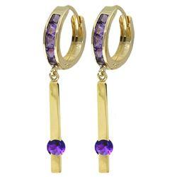 Genuine 1.35 ctw Amethyst Earrings Jewelry 14KT Yellow Gold - REF-66W2Y