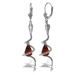 Genuine 4.56 ctw Garnet & Diamond Earrings Jewelry 14KT White Gold - REF-91W4Y