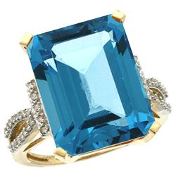 Natural 12.14 ctw Swiss-blue-topaz & Diamond Engagement Ring 10K Yellow Gold - REF-53W2K