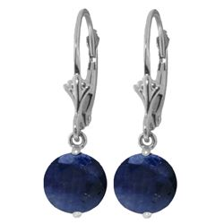 Genuine 3.3 ctw Sapphire Earrings Jewelry 14KT White Gold - REF-45Z7N