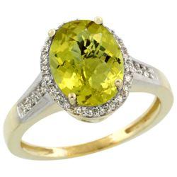Natural 2.49 ctw Lemon-quartz & Diamond Engagement Ring 14K Yellow Gold - REF-41V2F