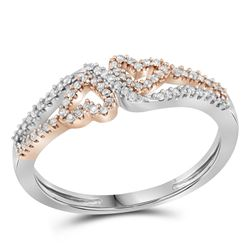 0.18 CTW Diamond 2-tone Heart Love Ring 10KT White Gold - REF-18F2N