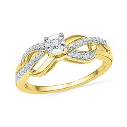 0.16 CTW Diamond Solitaire Infinity Promise Bridal Ring 10KT Yellow Gold - REF-19X4Y