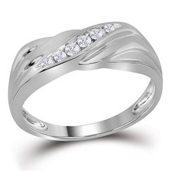 0.14 CTW Mens Diamond Diagonal Single Row Wedding Ring 10KT White Gold - REF-26Y9X