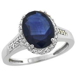 Natural 2.49 ctw Blue-sapphire & Diamond Engagement Ring 10K White Gold - REF-92A3V