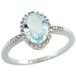Natural 1.03 ctw Aquamarine & Diamond Engagement Ring 14K White Gold - REF-26H8W