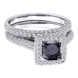 1.25 CTW Black Princess Diamond Solitaire Pave Bridal Ring 14k White Gold - REF-85F4N