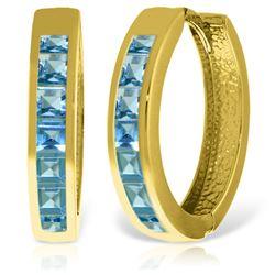 Genuine 1.85 ctw Blue Topaz Earrings Jewelry 14KT Yellow Gold - REF-57P6H