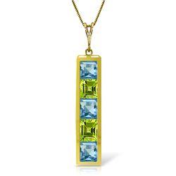 Genuine 2.25 ctw Blue Topaz & Peridot Necklace Jewelry 14KT Yellow Gold - REF-36M9T