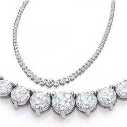 Natural 8.24CTW VS/I Diamond Tennis Necklace 18K White Gold - REF-681W8H