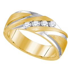 0.33 CTW Mens Diamond Wedding Ring 10KT Two-tone Gold - REF-79M4H