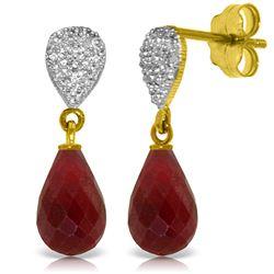 Genuine 6.63 ctw Ruby & Diamond Earrings Jewelry 14KT Yellow Gold - REF-28Z3N