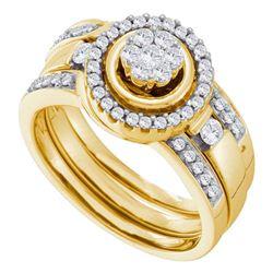 0.51 CTW Diamond Bridal Wedding Engagement Ring 14KT Yellow Gold - REF-101K2W