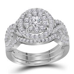 1.24 CTW Diamond Halo Bridal Engagement Ring 14KT White Gold - REF-134X9Y
