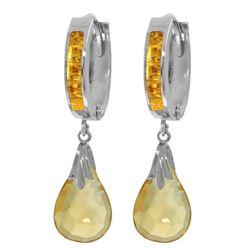 Genuine 6.85 ctw Citrine Earrings Jewelry 14KT White Gold - REF-49P6H