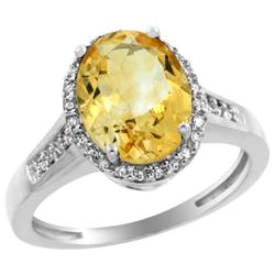 Natural 2.49 ctw Citrine & Diamond Engagement Ring 10K White Gold - REF-31G9M