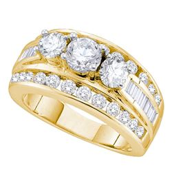 1 CTW Diamond 3-stone Bridal Engagement Ring 14KT Yellow Gold - REF-149W9K