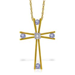 Genuine 0.53 ctw Tanzanite & Diamond Necklace Jewelry 14KT Yellow Gold - REF-80F2Z