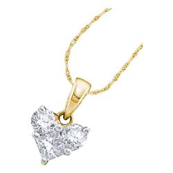 0.52 CTW Princess Diamond Heart Love Pendant 14KT Yellow Gold - REF-49W5K