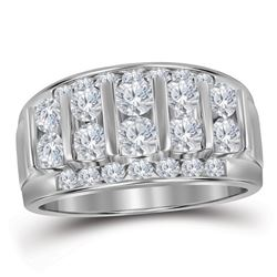0.99 CTW Mens Channel-set Diamond Raised Wedding Ring 14KT White Gold - REF-89K9W