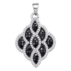 0.63 CTW Black Color Diamond Honeycomb Cluster Pendant 10KT White Gold - REF-34F4N