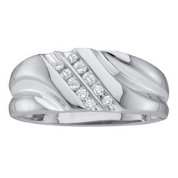 0.12 CTW Diamond Mens Lightweight 2-row Channel-set Ring 14k White Gold - REF-26H9M