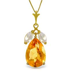 Genuine 6.5 ctw Citrine & White Topaz Necklace Jewelry 14KT Yellow Gold - REF-38K2V