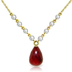 Genuine 15.6 ctw Ruby & Diamond Necklace Jewelry 14KT Yellow Gold - REF-139H8X