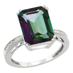Natural 5.42 ctw Mystic-topaz & Diamond Engagement Ring 14K White Gold - REF-61H9W
