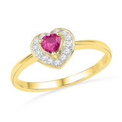 0.10 CTW Created Pink Sapphire Heart Love Ring 10KT Yellow Gold - REF-12M2H