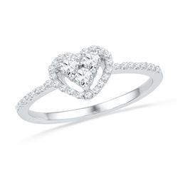0.29 CTW Diamond Framed Heart Cluster Ring 10KT White Gold - REF-24H2M