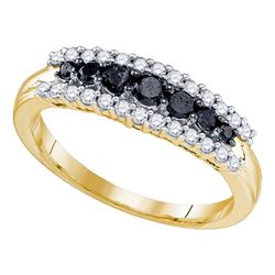 0.55 CTW Black Color Diamond Ring 10KT Yellow Gold - REF-30K2W