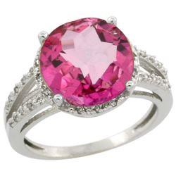 Natural 5.34 ctw Pink-topaz & Diamond Engagement Ring 14K White Gold - REF-45W5K