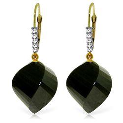 Genuine 31.15 ctw Black Spinel & Diamond Earrings Jewelry 14KT Yellow Gold - REF-50F5Z
