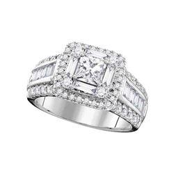 1.75 CTW Princess Diamond Solitaire Halo Bridal Engagement Ring 14KT White Gold - REF-269W9K