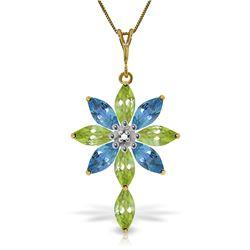 Genuine 2.0 ctw Blue Topaz & Diamond Necklace Jewelry 14KT Yellow Gold - REF-47F4Z
