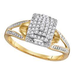 0.15 CTW Diamond Cluster Split-shank Ring 10KT Yellow Gold - REF-18N7F