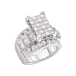 3 CTW Princess Diamond Cluster Bridal Engagement Ring 14KT White Gold - REF-274K4W