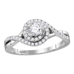 0.50 CTW Princess Diamond Solitaire Bridal Engagement Ring 14KT White Gold - REF-71N3F